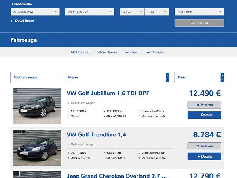 Fahrzeug-Liste 2 (ohne Sidebar)